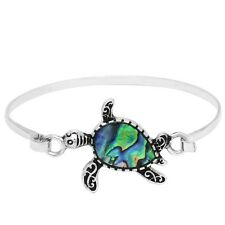 Turtle Bracelet Bangle ABALONE SHELL Classic Style SILVER Surfer Beach Jewelry