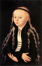 Oil lucas cranach the elder - portrait of a young girl with long hair no framed
