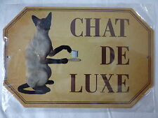 PLAQUE METAL DECORATION 10x15cm CHAT DE LUXE chien animal compagnie maison déco