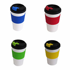 Travel Cup Mug Lid Thermal Double Walled Coffee Tea Drinking Assorted Colours