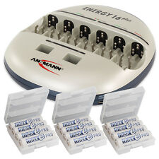 ANSMANN Energy 16 Plus Battery Charger AA/AAA/C/D/E + 12pcs. maxE PRO AA