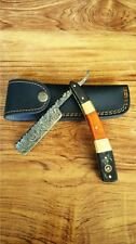 SD Handmade Original Damascus Superb Straight Razor Brass Bull Horn & Wood