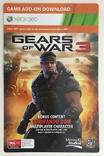 GEARS OF WAR 3 COMMANDO DOM XBOX 360 DOWNLOAD CODE CARD *NEW & UNUSED*