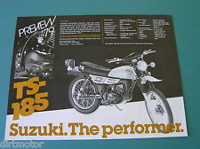 Suzuki Motorcycle Dealer Sales Preview Brochures  TS185  TS250   1979 Two Sheets