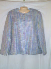 ALFRED DUNNER TWEED BLAZER JACKET PASTEL COLORS BLUE ,LAVENDER AND WHITE SIZE 16