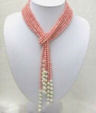 Natural 3 Rows 50 inch 4mm Pink Coral Freshwater Pearl Necklace