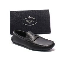 Prada 2DD001 Black Leather Slipper Driver Moccasins Loafers Shoes 44 / US 11