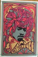 Vintage Black light Poster Jimi Hendrix Mr. Experience Psychedelic Afro Hair 60s