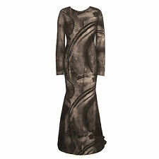 ROMONA KEVEZA $4830 long silk velvet sheer dress open back evening gown 6-us NEW
