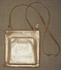Leather Fossil Gold Purse Bag Cross Body Zipper Pouch