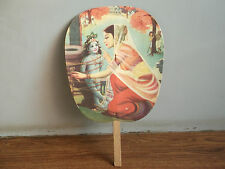 Rare old vintage beautiful mythological subject hand fan of 70's, made in India