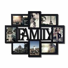 """Adeco 8-Opening 4x6"""" Black Wood """"Family"""" Wall Collage Photo Picture Frames"""