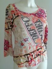 NWT$99 APRIORI ESCADA Group Colorful Stretch Knit Boutique SHIRT Top US8 Medium