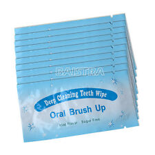100 pcs Dental Oral Care Brush Up Wipe Deep Cleaning Teeth Whitening Wipes Mint