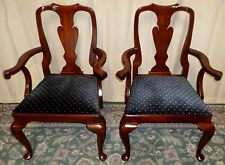 HENKEL HARRIS CHAIRS Mahogany Queen Anne Style Dining Chairs PAIR #110A c.1981 B