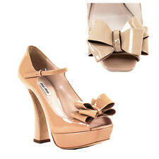 sz 38.5 NEW $790 MIU MIU PRADA Nude Tan PATENT Leather GIRLY BOW Peeptoe HEELS 8