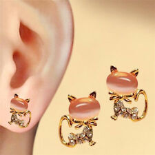 Gold Coloured Faux Crystal Cat Stud Earrings