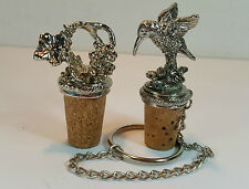 2 SILVER PLATED WINE SAVERS BOTTLE CORKS STOPPERS - GRAPES - HUMMINGBIRD