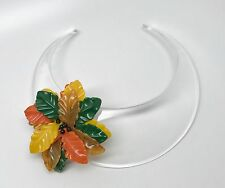 Spectacular Angela Caputi Flower on Clear Lucite Collar Statement Necklace
