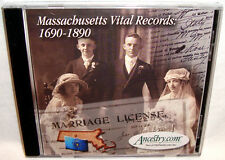 Ancestry Massachusetts Vital Records 1690-1890 PC CD Family Genealogy Research!