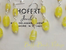 Yellow vintage EARRINGS to match art glass retro necklaces .925 Eames era GIFT!