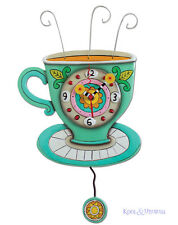 "Colourful ""Sunny Cup"" Coffee Tea Designer Wall Clock by Allen Designs"