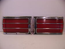 1972 73 PLYMOUTH FURY WAGON TAILGATE INNER TAIL LIGHT LENSES & BEZELS OEM