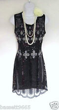1920'S GATSBY VINTAGE LOOK CHARLESTON BEADED SEQUIN FLAPPER DRESS SIZE 12/14