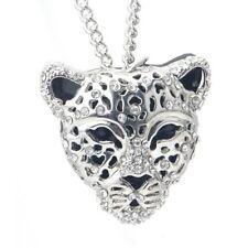 Silver CZ Jaguar Leopard Pendant Sweater Chain Necklace