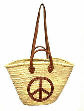 Straw & Leather Shopping French Market Basket Bag Moroccan Tote Peace