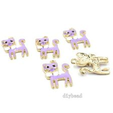 20x Charms Gold Tone Purple Enamel Rhinestone Elegant Cats Alloy Pendants 24mm D