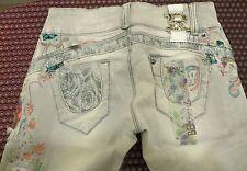 Rare! 890 £! raw logo brodé sur la rangée de perles maje fleurs paillettes slim jeans W27