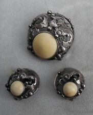 N.E.FROM DENMARK VINTAGE STERLING  BROOCH & MATCHING CLIP  EARRINGS