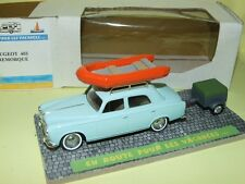 PEUGEOT 403 avec sa remorque et galerie bateau EN ROUTE POUR LES VACANCES 1:43
