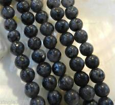 "Natural 8mm India Black Gray Labradorite Gems Round Loose Beads 15"" Strand"