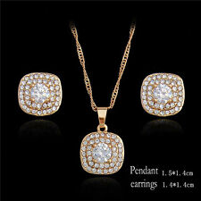Womens Wholesale Austria Crystal Jewelry Set 18K Gold Plated Bridal Jewelry