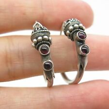 Vtg 925 Sterling Silver Real Amethyst Gemstone Modernist Hoop Earrings