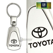 Toyota Logo Black Leather Authentic Chrome Key Fob Keyring Keychain Lanyard Tag