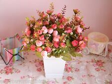 One Bunch Of Small Artificial Tea Roses, Silk Flowers, Bud With Leaves