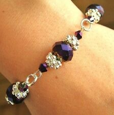 N / FLOWER BRACELET KIT METALLIC PURPLE CRYSTAL BEADS  SILVER JEWELLERY MAKING