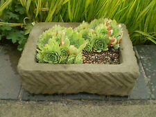 STONE GARDEN OLD STYLE RECTANGULAR ALPINE SEMPERVIVUM TROUGH / PLANTER