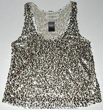 Abercrombie and Fitch Tank Top Medium Gold Sequin Semi-Sheer Womens NEW kg1
