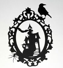 Large Halloween Vintage Haunted House Frame Die Cut Silhouette Decor (29x20cm)