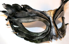 Silver Obsidian Feather Mask Handmade Leather Venetian Masquerade black/silver