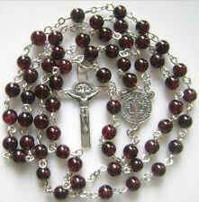 925 STERLING SILVER ST.BENEDICT ROSARY CROSS 7MM GARNET GEMSTONE BEADS NECKLACE