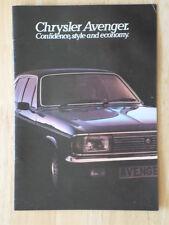 CHRYSLER Avenger 1979 range UK Mkt sales brochure - Hillman interest