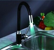 Hot  LED Black Paiting Swivel Kitchen Sink taps Faucet Mixer Brass New Free