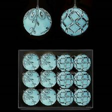 12 60mm Ice Blue Luxury Decorated Christmas Baubles - Glitter Covered - (DP383)