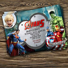 Personalized Birthday invites/thank you card Avengers/Super hero/Marvel hero x8