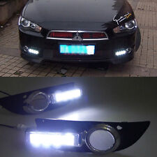 2x White LED DRL Daytime Fog Light Run lamp For Mitsubishi Lancer 2008-2012